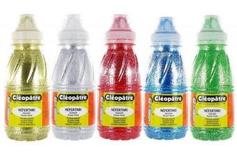 Cléopâtre GP250x5A Glitter Gel Set of 5 Bottles in Gold/Silver/Green/Red/Blue 24 x 13 x 16 cm