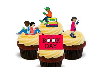 (24) - World Book Day - Edible Cupcake Toppers - Stand-up Wafer Cake Decorations (24)