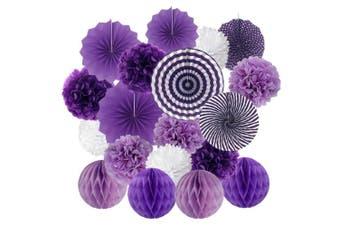 (Purple) - Hanging Paper Fan Set, Cocodeko Tissue Paper Pom Poms Flower Fan and Honeycomb Balls for Birthday Baby Shower Wedding Festival Decorations - Purple