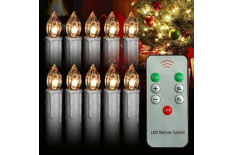 (Warm White 2) - Wax Dripped Mini Flameless LED Taper Candles with Remote Battery Operated Flickering Candle Removable Clips for Baroque Candle Chandelier Christmas Wedding Holiday Tree Decoration 10Pcs (warm white 2)