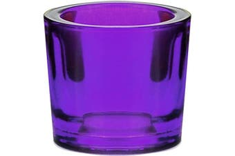 (Violet) - Couronne Co Heavy Recycled Glass Votive Candle Holder, 7555G21, 5.7cm tall, 70ml capacity, Violet