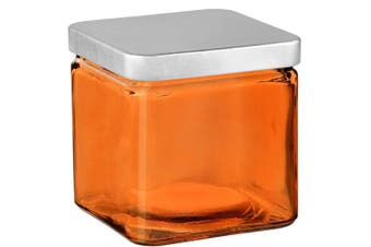 (Orange) - Couronne Co Square Glass Container with Metal Lid, 7524G08-C, 10cm tall, Orange
