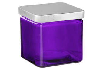 (Violet) - Couronne Co Square Glass Container with Metal Lid, 7524G21-C, 10cm tall, Violet