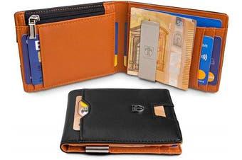 "(Black) - TRAVANDO ® Wallet Mens with Money Clip ""London"" RFID Blocking Slim Wallet | Credit Card Holder | Travel Wallet | Minimalist Mini Wallet Bifold for Men with Gift Box"