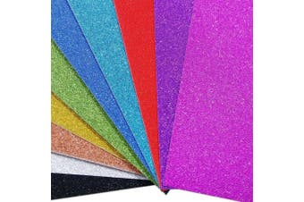(Multi) - Misscrafts Glitter Paper Card Stock A4 10 Colours to Celebrate Party Make Sparkling Card