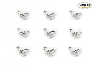 (mom (Antique Silver)) - 30pcs Mom Charm,Heart Shape Double-faced Pendant for Mother's Day as DIY Bracelet Necklace jewellery Making Findings(Antique Silver)