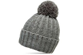 (One size, Grey) - CASPAR Unisex Classic Winter Knitted Hat / Beanie with Chunky Bobble - MU087
