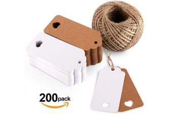 (200PCS) - 200PCS Kraft Paper Gift Tags Wedding Favour 4x9 cm with Heart and Natural Jute Twine 60m in White Brown Colours for Arts and Crafts