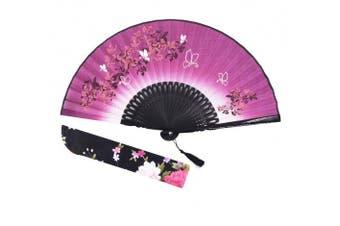 """(Dark Purple) - Amajiji folding fan, 8.27""""(21cm) Women Hand Held Silk Folding Fans with Bamboo Frame, Hollow Carve Patterns Bamboo Frame Women Hand Folding Fans Hand Fan Folding Fan (Dark purple)"""