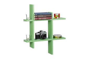 (Green) - Relaxdays 6-Compartment Floating Shelf, Irregular Grid Look, Hanging Bookcase HxWxD 58.5 x 58.5 x 10 cm, Green