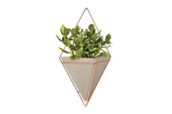 (Large, Copper) - Umbra Trigg Hanging Planter Vase & Geometric Wall Decor Container - Great For Succulent Plants, Air Plant, Mini Cactus, Faux Plants and More, Concrete Resin/Copper