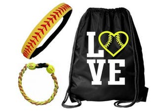 (Softball Set Bag Headband Bracelet) - Softball Headband Set - Leather Seamed Headbands Yellow Red Stitching, Softball Post Earrings, Softball Titanium Necklace, Softball Bow Hair Ties by Kenz Laurenz