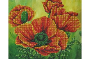 Bead Embroidery kit Poppies Beaded cross stitch Flowers Needlepoint Handcraft Tapestry kit