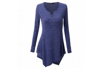 (3XL /UK 22 /Chest :120cm , Blue) - AILEESE Women Casual Jumper Shirt Dress Long Sleeve Tops Oversized Sweater Pullover Loose Sexy Sweatshirt