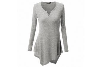 (3XL /UK 22 /Chest :120cm , Grey) - AILEESE Women Casual Jumper Shirt Dress Long Sleeve Tops Oversized Sweater Pullover Loose Sexy Sweatshirt