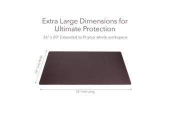 (90cm  x 50cm ) - ZBRANDS // Brown Leather Smooth Desk Mat Pad Blotter Protector, Extended Non-Slip Rectangular, Laptop Keyboard Mouse Pad (90cm x 50cm )
