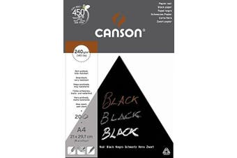 (A4 - 21x29.7cm) - Canson Black Drawing 240gsm paper, A4 pad including 20 sheets of deep black smooth paper.