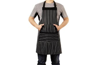 (1 Pack, Black/White2) - YXTD Kitchen Cooking Apron for Women and Men, Adjustable Chef Bib Apron with Pockets - 80cm x 70cm - Black/White Pinstripe- 1 Pcs