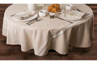 (White, 150cm  x 300cm ) - DII 100% Cotton, Machine Washable, Everyday French Stripe Kitchen Tablecloth For Dinner Parties, Summer & Outdoor Picnics - 60x120 Seats 10 to 12 People, White
