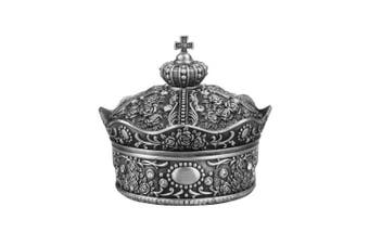 (Large) - AVESON Creative Vintage Metal Alloy Crown Design Jewellery Box Ring Trinket Case Jewellery Organiser Storage Boxes Christmas Birthday Gift, Large