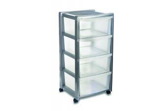 "(Silver) - Stefanplast ""Libera"" 4 Drawers High Storage Unit, Silver, 40 x 40 x 80 cm"