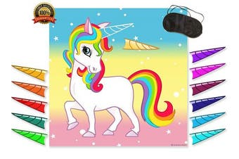 PIN THE HORN on the UNICORN GAME - Magical Party Supplies for Kids Fun Rainbow Birthday Party - Buy as a Gift or Wall Decoration for Your Child | Alpine Celebrations