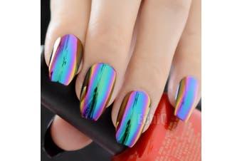 (Z905) - CoolNail Ballerina Coffin Nails Mirror Chrome False Nail Solid Reflection Magic Mirror Effect Green Purple Holo Fake Nails Tips