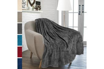 (130cm  x 150cm , Charcoal) - Premium Flannel Fleece Waffle Throw Blanket by Pavilia  Luxury, Super Soft, Cosy, Lightweight for All Season Use (Charcoal, 130cm x 150cm )