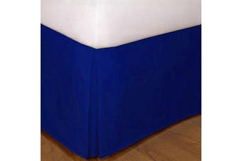 (Queen, Royal Blue) - Queen Size Mk Collection Solid Pleated Bed Skirt with 36cm Drop Royal Blue New