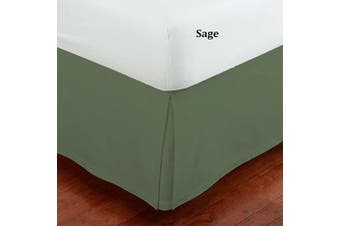 (Queen, Sage) - Mk Collection Solid Pleated Queen Size Bed Skirt 36cm Drop Sage Green New