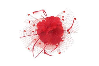 (Red) - Auranso Derby Netting Mesh Headband Feather Big Flowers Hair Band Tea Party Girls Women Wedding Bridal Fascinator Hat