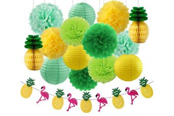 Hawaiian Luau Party Decorations Tropical Party Decorations Tissue Pineapples Green Mint Yellow Tissue Paper Pom Poms Flamingos Pineapples Banner and Paper Lanterns