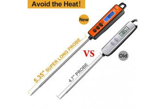 (Orange) - ThermoPro TP01A Instant Read Meat Thermometer with Long Probe Digital Food Cooking Thermometer for Grilling BBQ Smoker Grill Kitchen Oil Candy Thermometer