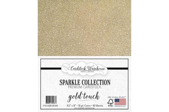 (Gold) - MirriSparkle Gold Touch Glitter Cardstock Paper from Cardstock Warehouse 22cm x 28cm - 16 PT/280gsm - 10 Sheets