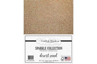 (Desert Sand) - MirriSparkle Desert Sand Glitter Cardstock Paper from Cardstock Warehouse 22cm x 28cm - 16 PT/280gsm - 10 Sheets