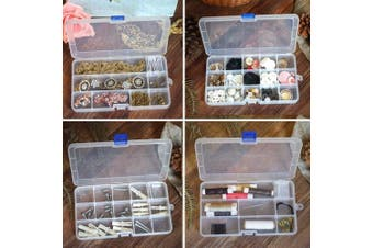 (15 grids, White X 4) - DUOFIRE Plastic Organiser Container Storage Box Adjustable Divider Removable Grid Compartment for Jewellery Beads Earring Container Tool Fishing Hook Small Accessories(15 grids,White x 4)