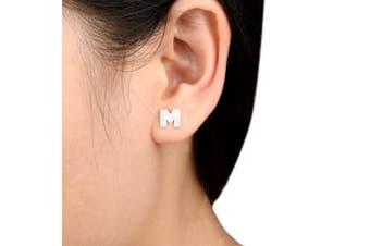 (M) - TENYE Women's 925 Sterling Silver Zirconia Initial Alphabet Letter Stud Earrings