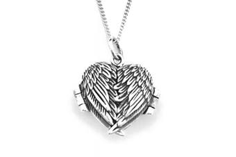 925 Sterling Silver Love HEART Locket Opening Angel Wings Pendant on 46cm Silver Curb Chain