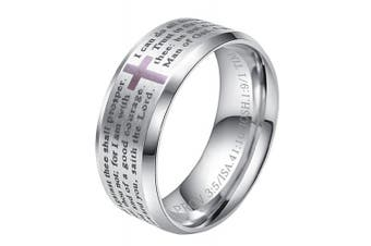 (silver ring (stainless-steel), Y) - ALEXTINA Men's 8MM Stainless Steel Bible Verse Christian Cross Lord's Prayer Ring (Black/Gold/Silver)