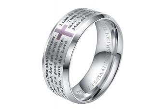 (silver ring (stainless-steel), N 1/2) - ALEXTINA Men's 8MM Stainless Steel Bible Verse Christian Cross Lord's Prayer Ring (Black/Gold/Silver)