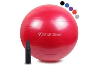 (55 cm, Red) - Exercise Ball for Yoga, Balance, Stability from SmarterLife - Fitness, Pilates, Birthing, Therapy, Office Ball Chair, Classroom Flexible Seating - Anti Burst, No Slip, Workout Guide