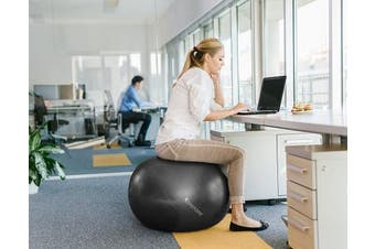 (75 cm, Black) - Exercise Ball for Yoga, Balance, Stability from SmarterLife - Fitness, Pilates, Birthing, Therapy, Office Ball Chair, Classroom Flexible Seating - Anti Burst, No Slip, Workout Guide