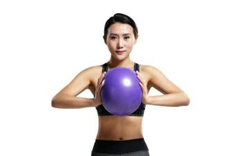(Purple) - Mini Yoga Pilates Ball 25cm for Stability Exercise Training Gym Anti Burst and Slip Resistant Balls With Inflatable Straw