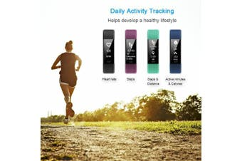(Black) - LETSCOM Fitness Tracker HR, Activity Tracker Watch with Heart Rate Monitor, Waterproof Smart Fitness Band with Step Counter, Calorie Counter, Pedometer Watch for Kids Women and Men