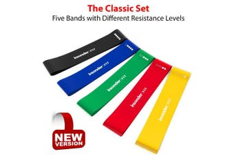 (5x Resistance Bands [all resistance levels], Original Set) - Insonder Resistance Bands - Latex Exercise Loop Bands for Workout and Stretching - Legs Butt Glutes Yoga Crossfit Fitness Physical Therapy Mini Home Equipment Women