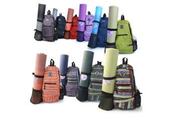 (Blue) - Aurorae Yoga Mat Bag. Multi Purpose Cross-body Sling Back Pack. Mat sold separately.