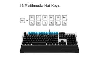 SIIG Mechanical Gaming Keyboard with Blue Switch, 7-colour LED backlight, Wrist Rest and Aluminium Faceplate, 104 keys Full Size Gamer Keyboard N-Key Rollover Anti-ghosting for PC Gaming and Typing