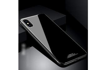 (Black) - iPhone X Case,PHEZEN Solid Colour Shockproof Anti-Scratch Tempered Glass Back Cover and Plastic Interior Dual Layer TPU Silicone Bumper Case Shell for iPhone X,Black
