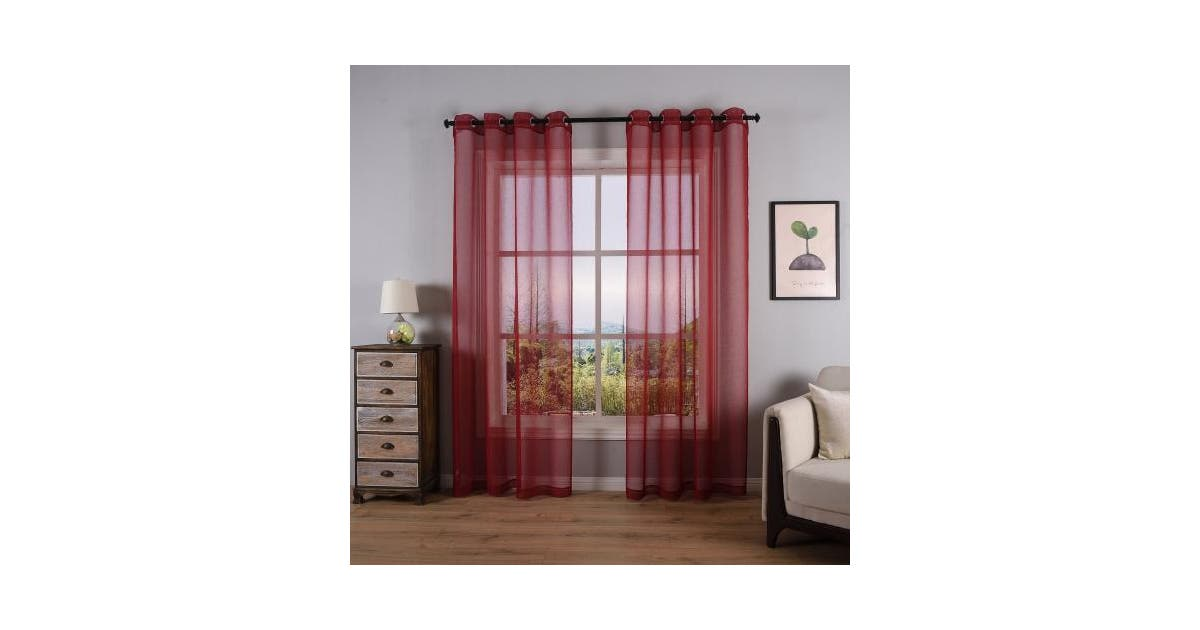 52 X 63 Red Dwcn Burgundy Semi Sheer Curtains For Living Room Bedroom Linen Look Voile Drapes Grommet Top Window Curtain Panel 130cm X 160cm Long Set Of 2 Panels Matt Blatt