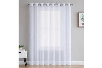 (1 Patio 280cm  x 210cm  - Each Panel, White) - Patio Door Crushed Grommet Semi-Sheer Window Curtains by AsaTex - 210cm Long - 280cm Wide (Patio 280cm W x 210cm L, White)